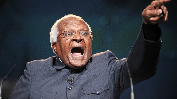 """Tutu delivers a speech during a 2009 conference for """"One Young World,"""" the world's largest gathering of young leaders."""