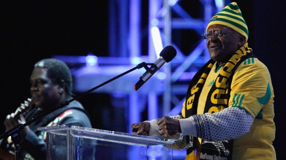 Tutu speaks on stage during a FIFA World Cup celebration concert in 2010. South Africa was hosting the soccer tournament.