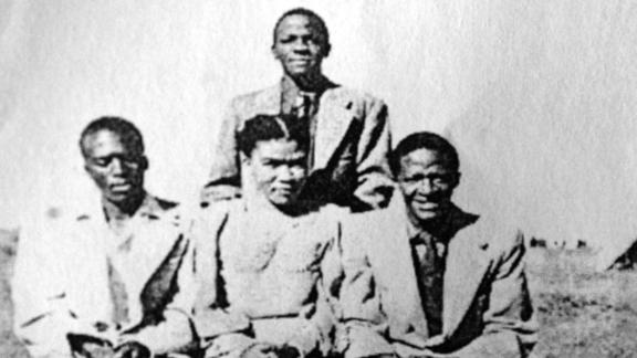 Tutu is seen at right with other members of the editorial staff of the Normalife, a publication produced by the students of the Pretoria Bantu Normal College in South Africa. Tutu graduated from the college with a teacher certificate in 1953.