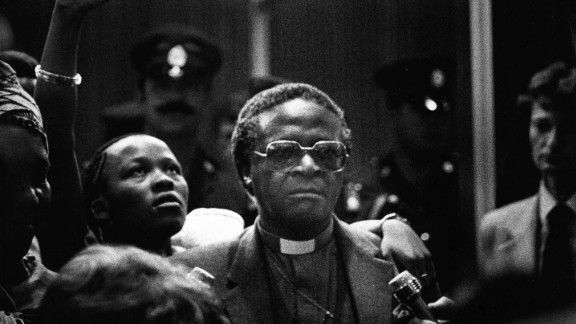Tutu returns from a trip to the United Nations in April 1981. He was consecrated bishop of Lesotho in 1976. In 1978, he became the first black secretary general of the interdenominational South African Council of Churches.