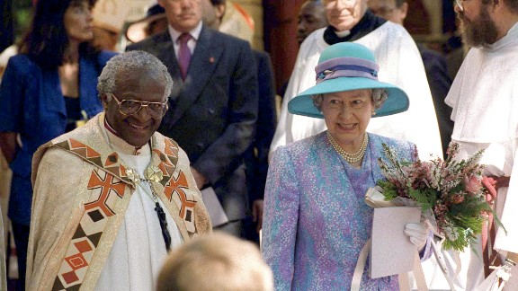 Tutu is seen with Britain's Queen Elizabeth II as she visited Cape Town in 1995.