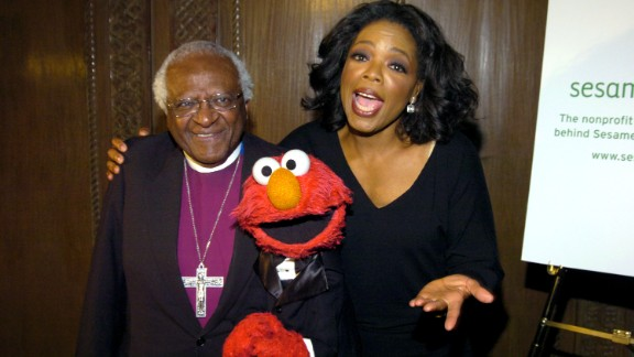 Tutu, Elmo and Oprah Winfrey appear at the Sesame Workshop's Benefit Gala in 2004.