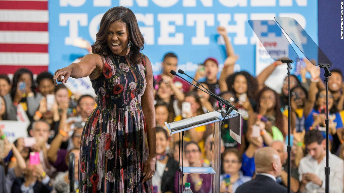 First lady Michelle Obama campaigns for Democratic presidential candidate Hillary Clinton at George Mason University on Friday, September 16, in Fairfax, Virginia.