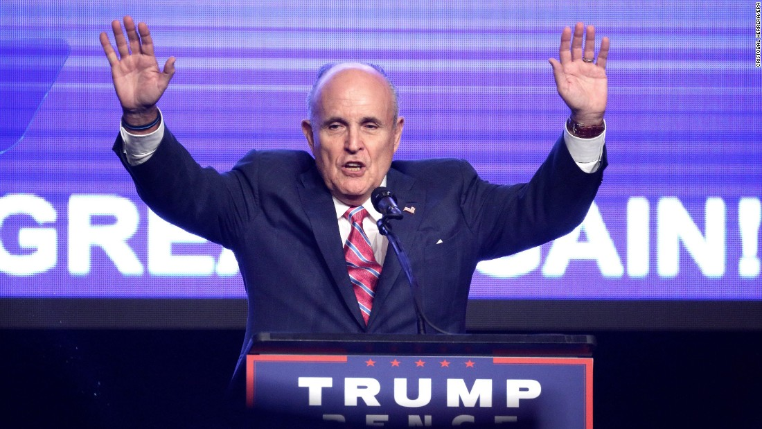 Former New York City Mayor Rudy Giuliani speaks during US Republican presidential candidate Donald Trump's campaign event in Miami, Florida, on Friday, September 16.
