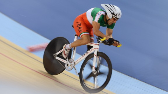 Bahman Golbarnezhad of Iran is pictured competing in London 2012.