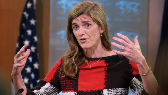 US Ambassador to the United Nations Samantha Power announces the start of the #FreeThe20 campaign from the State Department September 1, 2015 in Washington, DC. (Photo by Chip Somodevilla/Getty Images)