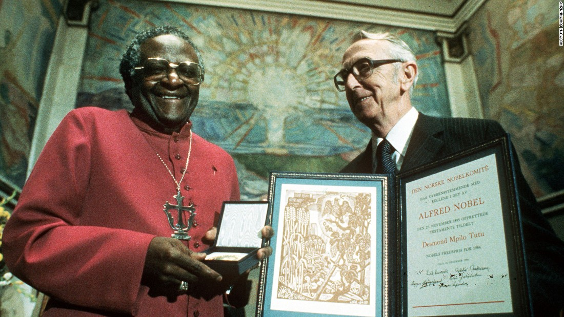 Tutu receives the 1984 Nobel Peace Prize during the annual ceremony in Oslo, Norway.