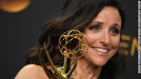 Actress Julia Louis-Dreyfus poses in the press room during the 68th Annual Primetime Emmy Awards at Microsoft Theater on September 18, 2016 in Los Angeles, California.