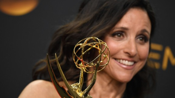 "Actress Julia Louis-Dreyfus with another prize for ""Veep"" -- Best Actress in a Comedy Series."
