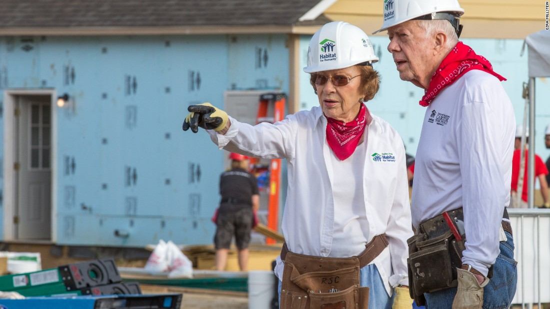 Jimmy & Rosalynn Carter at their work project in Memphis Tennessee in 2016.