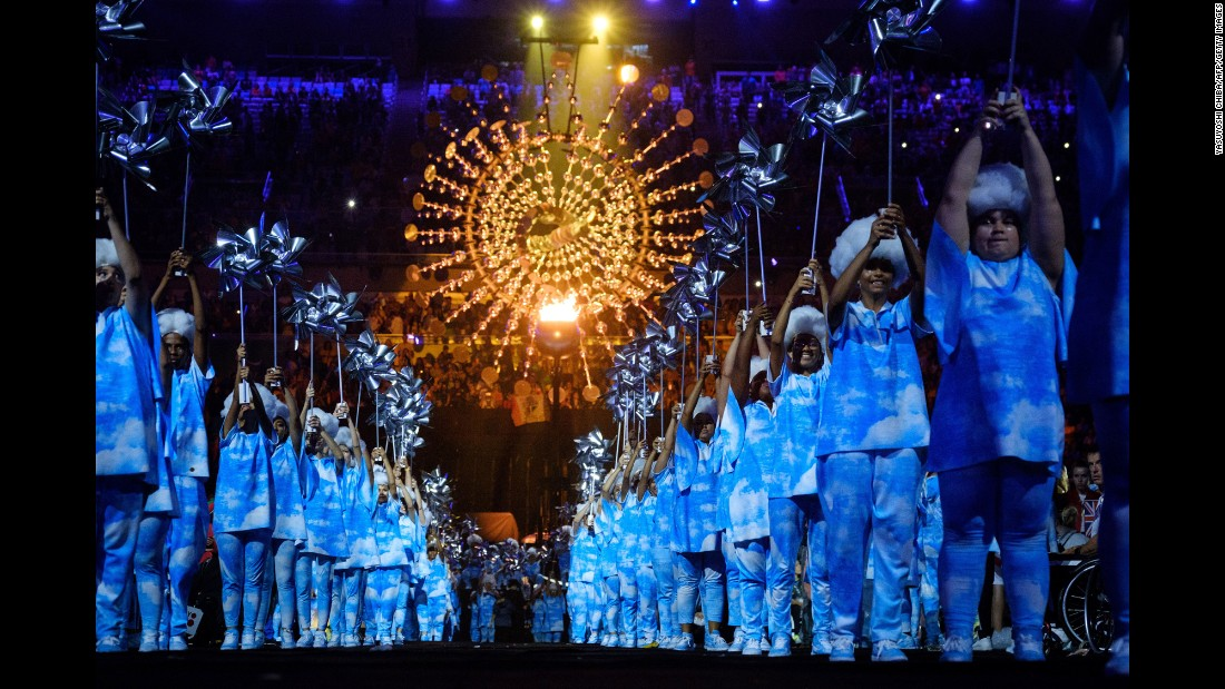 Dancers perform during the closing ceremony of the Rio Paralympics on Sunday, September 18.