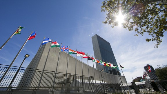 International flags fly in front of the United Nations headquarters on September 24, 2015, before the start of the 70th General Assembly meeting.