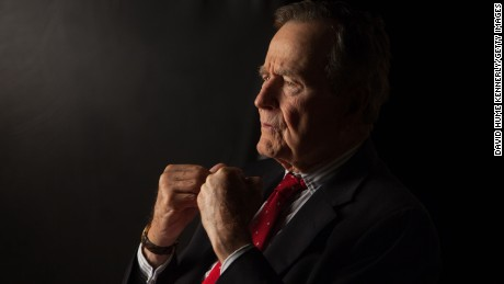 Former President George H.W. Bush is interviewed for 'The Presidents' Gatekeepers' project about the White House Chiefs of Staff at the Bush Library in 2011, in College Station, Texas.