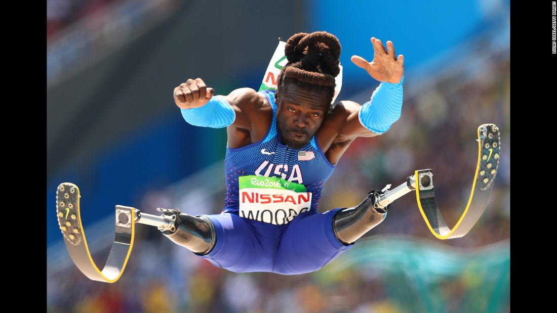 Paralympian Regas Woods competes in the long jump, a month after fellow American Tianna Bartoletta (previous photo) won gold in the Olympic event.