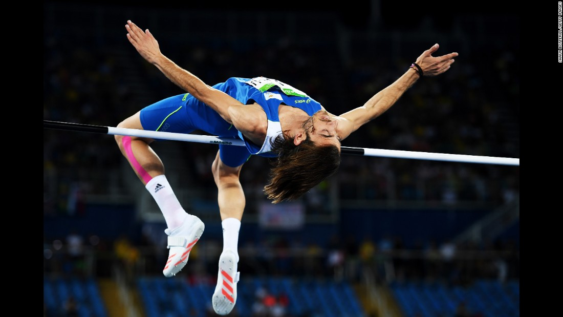 Kyriakos Ioannou of Cyprus competes in the Olympic high jump final.
