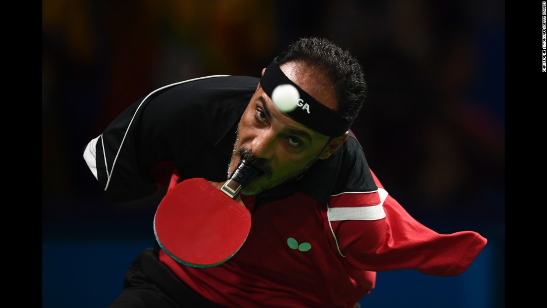 Egypt's Ibrahim Hamato plays a match during the Paralympics.