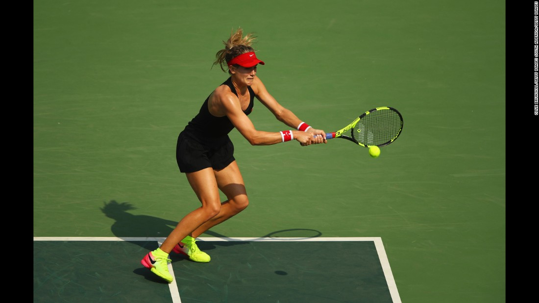 Canadian tennis player Eugenie Bouchard plays a backhand during a second-round match against Angelique Kerber of Germany.