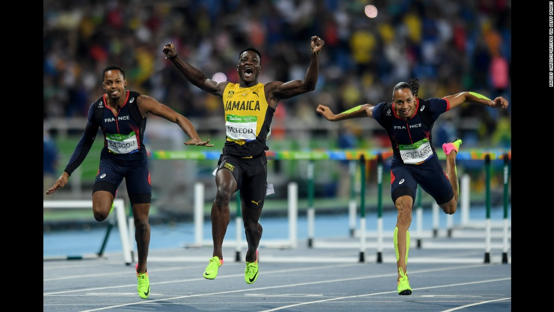 Jamaica's Omar McLeod celebrates after winning gold in the 110-meter hurdles.
