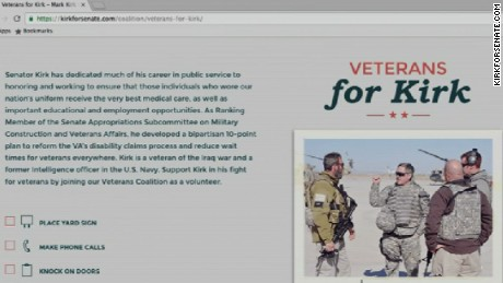 "A once public, now private webpage on Mark Kirk's official campaign website touted his record on veterans' issues, Kirk was listed as a ""veteran of the Iraq war."""
