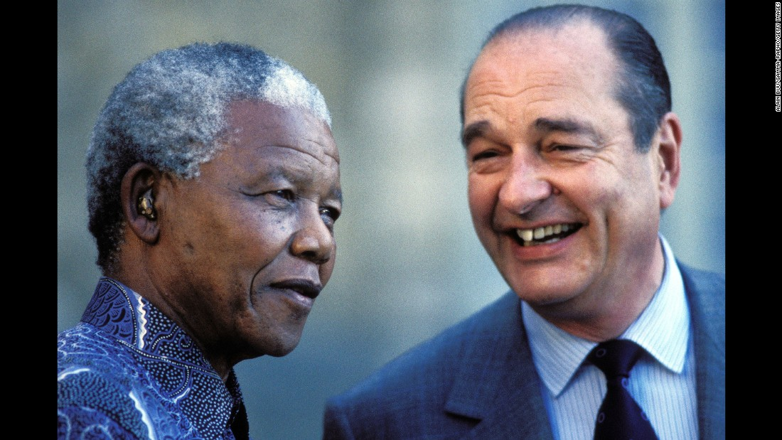 South African President Nelson Mandela visits Chirac in France in 1996. Chirac had been elected President the year before.