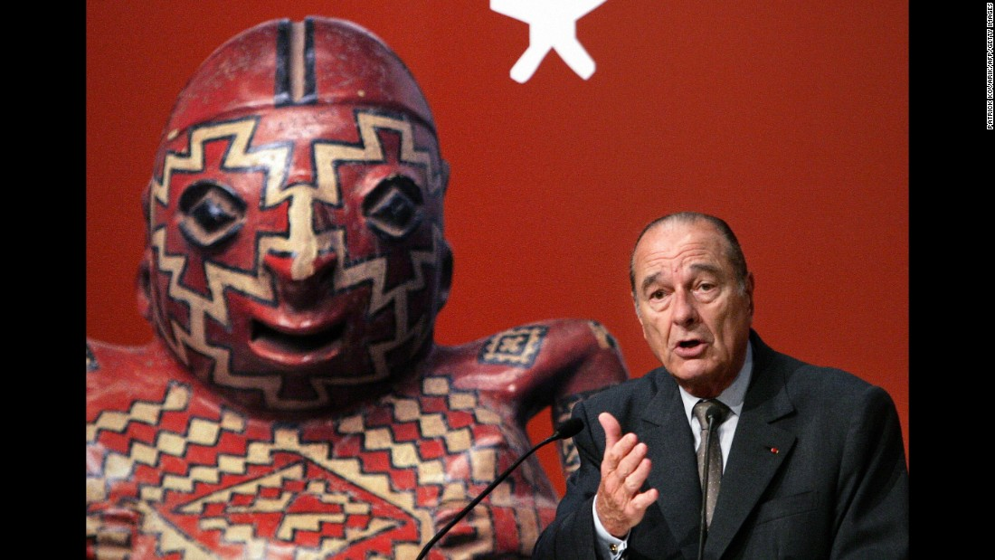 Chirac gives a speech as he inaugurates a museum in Paris in 2006. Chirac left office in 2007 instead of running for a third term.