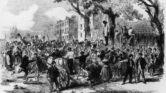A lynching in New York is depicted in this illustration from around 1863.