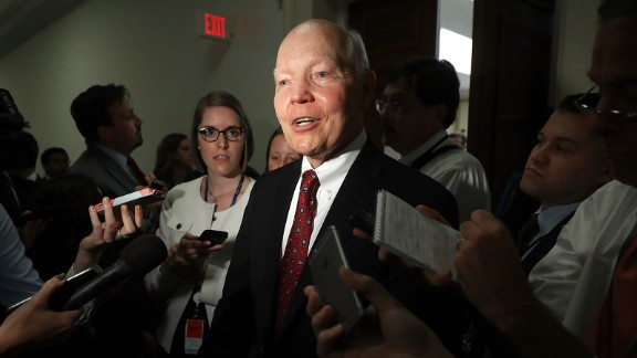 Internal Revenue Service Commissioner John Koskinen talks to reporters after testifying before the House Judiciary Committee for three and a half hours in the Rayburn House Office Building on Capitol Hill September 21, 2016 in Washington, DC.