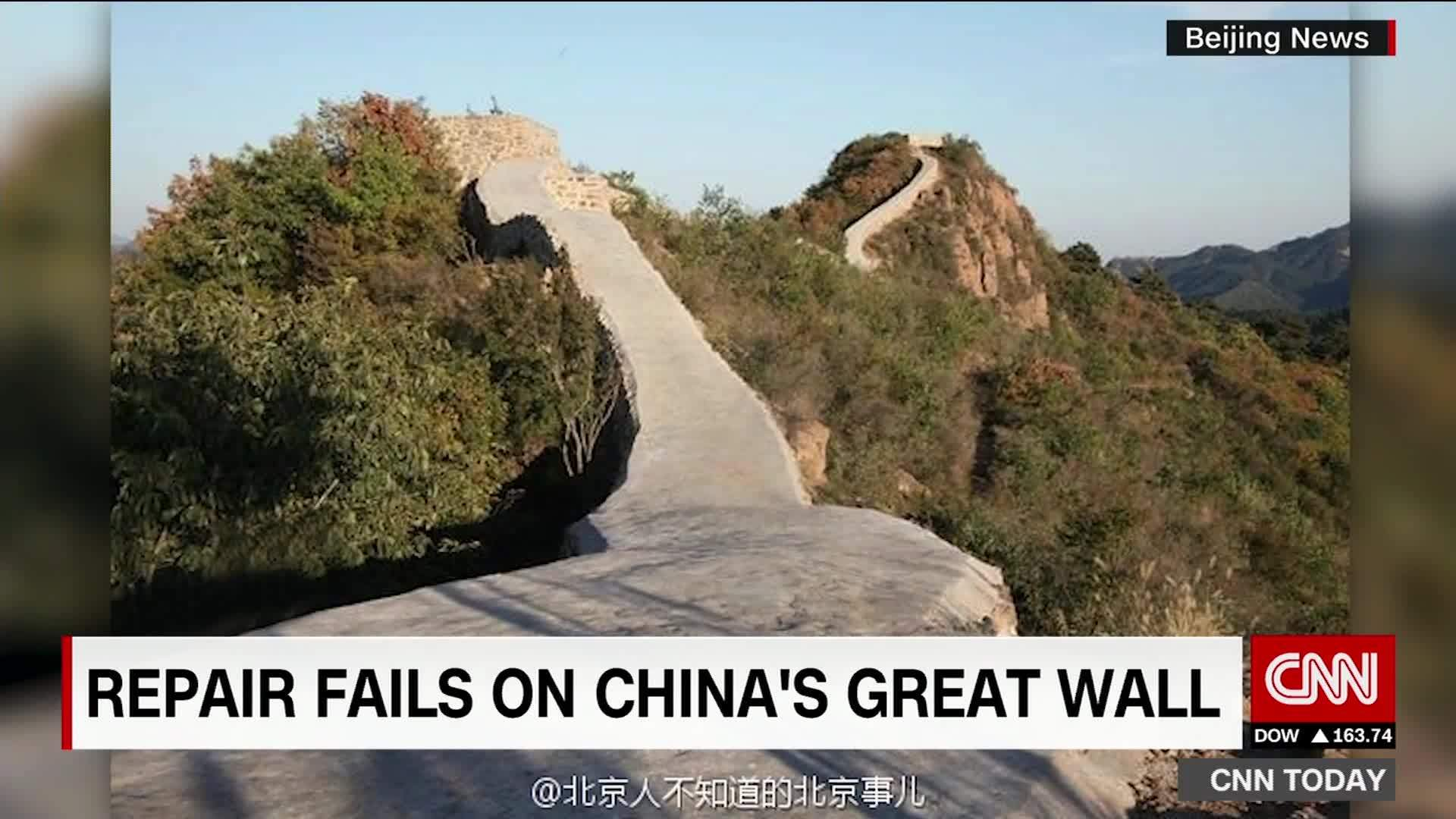 China Covers Portions Of Great Wall With Cement