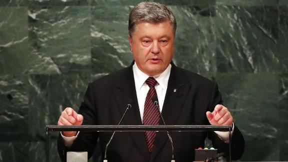 Ukrainian President Petro Poroshenko addresses the General Assembly at the United Nations on September 21, 2016 in New York City.