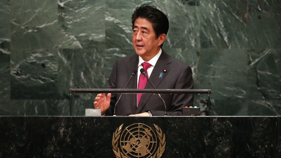 NEW YORK, NY - SEPTEMBER 21:  Japanese Prime Minister Shinzo Abe addresses the General Assembly at the United Nations on September 21, 2016 in New York City. Presidents, prime ministers, monarchs and ministers are gathering this week for the United Nation's General Assembly's annual ministerial meeting.  (Photo by Spencer Platt/Getty Images)