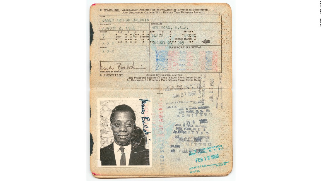 Noted author and playwright James Baldwin's U.S. passport, dated August 2, 1965, was donated to the museum by his family. It's one of many of Baldwin's (1924-1987) personal effects given by his family to the museum.
