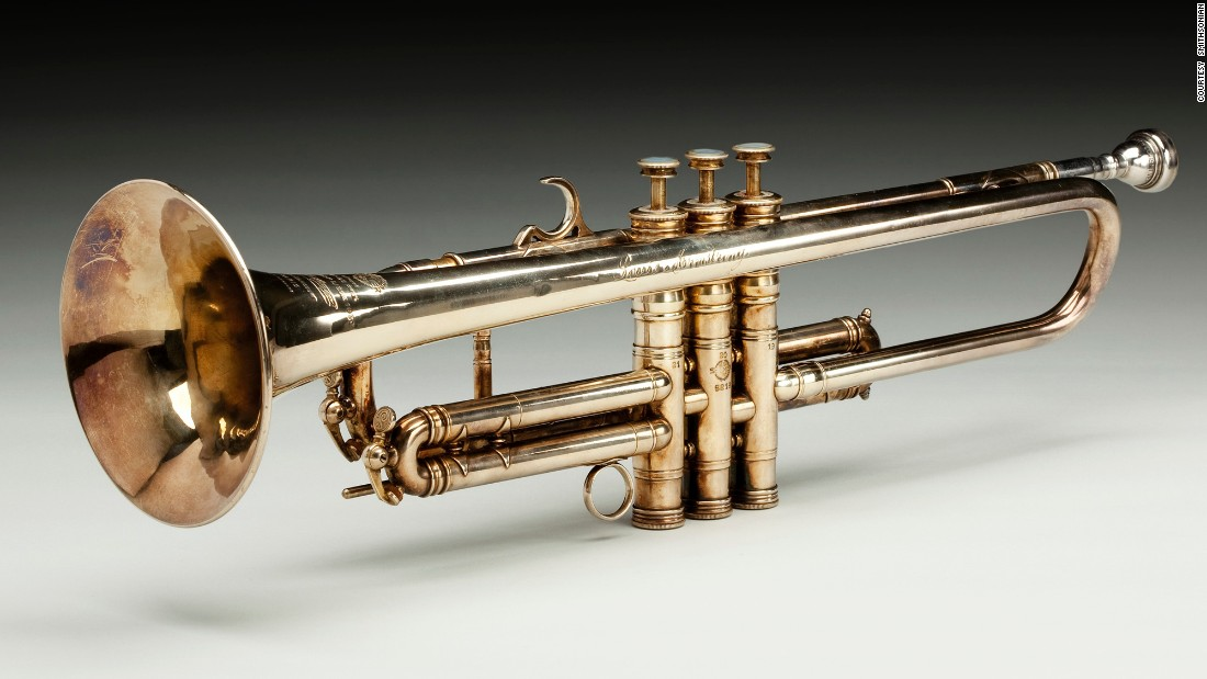 Internationally renowned musician Louis Armstrong owned this 1946 Henri Selmer B-flat trumpet, which was custom-made and inscribed for him by the Selmer Company.