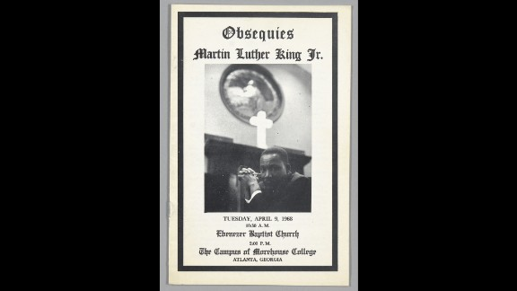 A 16-page program for the April 9, 1968, funeral service for Martin Luther King, Jr., at Ebenezer Baptist Church in Atlanta was stored in a cloth clamshell box with a leather label.
