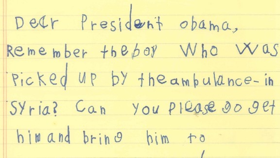 In his letter to Obama, Alex offered to teach Omran how to ride a bike.