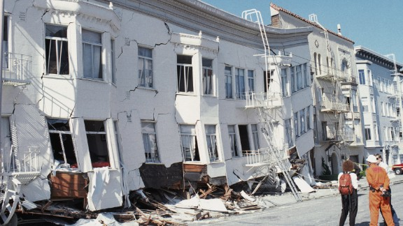 Buildings were damaged after a 7.1 earthquake hit the in San Francisco area on October 17, 1989.