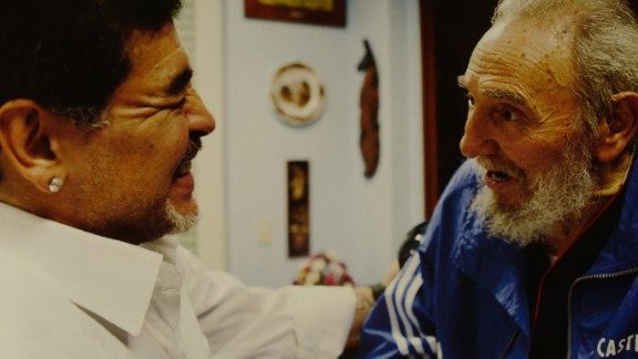 """Argentine football legend Diego Maradona visits Fidel Castro at his home in Havana. Maradona has frequently gone to Cuba, reportedly to receive treatment for addiction to drugs. Alex Castro says Maradona is """"grateful to Fidel and Cuba"""" for helping him """"with his health."""""""