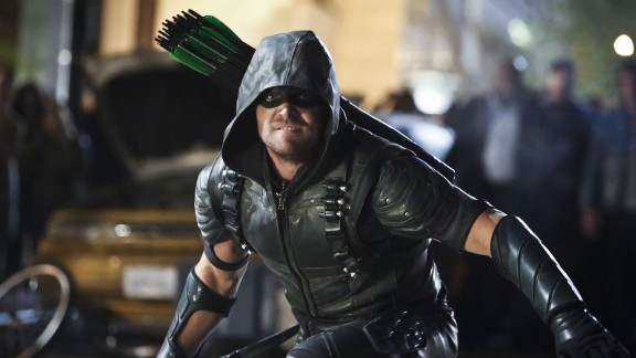 """""""Arrow"""" Season 4: Spoiled billionaire playboy Oliver Queen returns from the dead as as a hooded vigilante armed with a bow who wants to save his city. (Netflix)"""