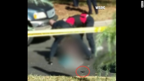 A photo obtained by CNN affiliate WSOC-TV shows the scene where Keith Scott was fatally shot.