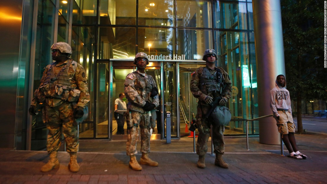 National Guardsmen Stand At Their Post In Downtown Charlotte On September 22
