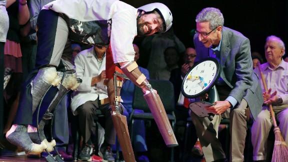 Thomas Thwaites accepts the biology while wearing goat prosthetics, September 22, 2016.