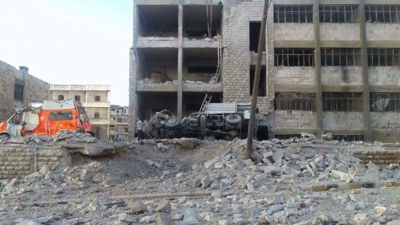 The fire station is Aleppo was reduced to rubble.
