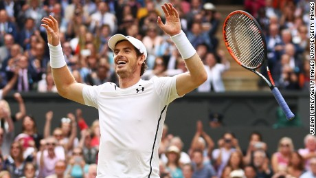 LONDON, ENGLAND - JULY 10:  Andy Murray of Great Britain celebrates victory during the Men's Singles Final against Milos Raonic of Canada on day thirteen of the Wimbledon Lawn Tennis Championships at the All England Lawn Tennis and Croquet Club on July 10, 2016 in London, England.  (Photo by Julian Finney/Getty Images)