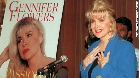 "Gennifer Flowers, who claims to have carried on a 12-year relationship with Bill Clinton, answers questions about her book ""Passion and Betrayal"" during a press conference 24 April,1995."