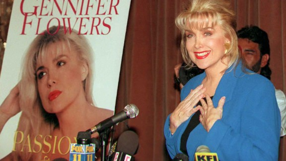 """Gennifer Flowers, who claims to have carried on a 12-year relationship with Bill Clinton, answers questions about her book """"Passion and Betrayal"""" during a press conference 24 April,1995."""