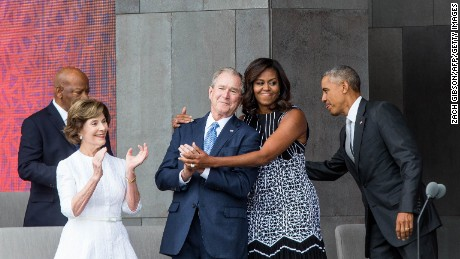 Former first lady Laura Bush, former President George W. Bush, first lady Michelle Obama and President Barack Obama attend the opening ceremony for the Smithsonian National Museum of African American History and Culture on September 24, 2016, in Washington.