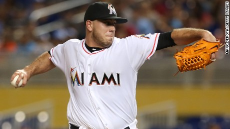 Jose Fernandez of the Miami Marlins pitches against the Los Angeles Dodgers on September 9 in  Miami.
