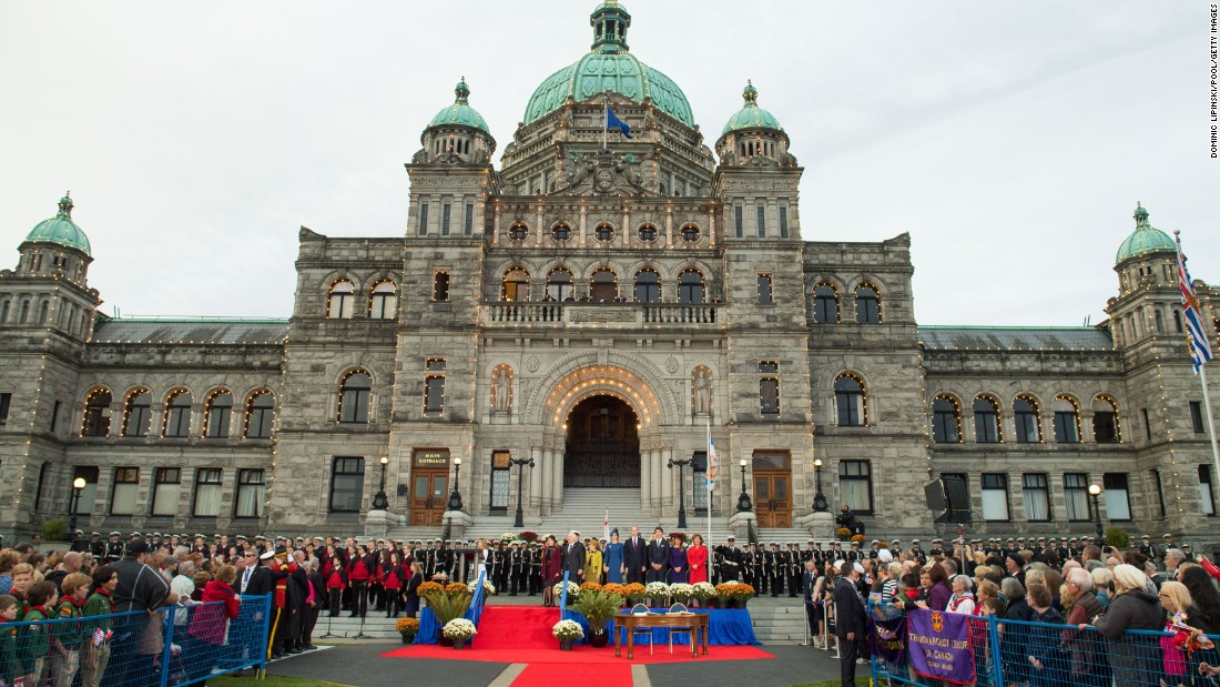 An official welcome ceremony greets the royals at the Legislative Assembly in Victoria.