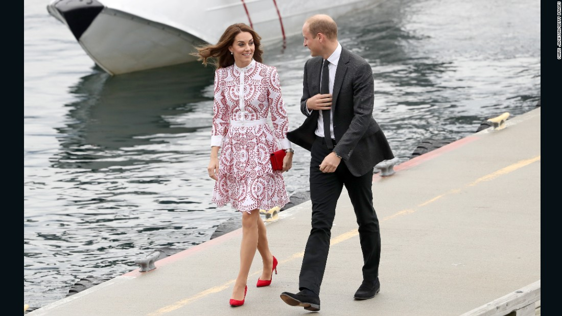 Catherine and William arrive at the Vancouver Harbour Flight Centre on September 25.