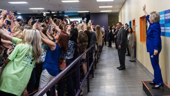 Hillary Clinton waves to a selfie-taking crowd at a recent campaign event in Orlando, Florida.