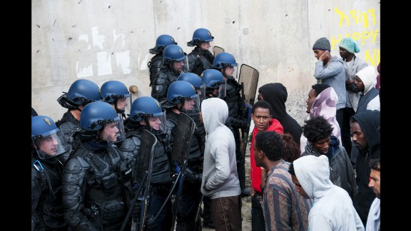 French police oversee the removal of tents in September 2015.